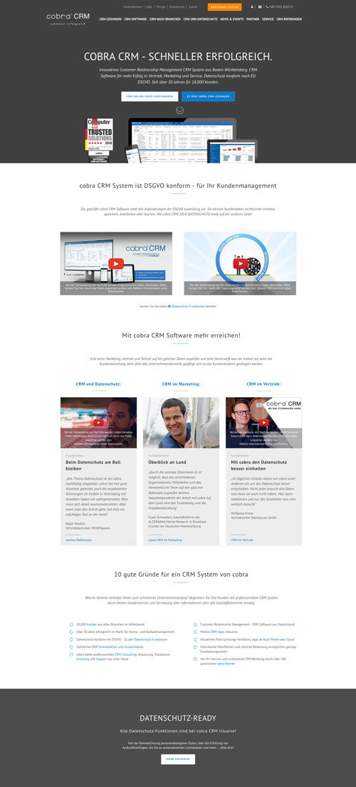 Professionelle Website Firma cobra CRM